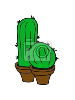 Fototapeta 2 Kakten Małe Doniczki Zielony Kaktus Balkon Słodkie Słodkie