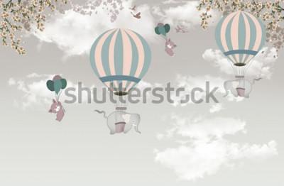 Fototapeta 2 słoń z drzewem balon na niebie tapeta 3d