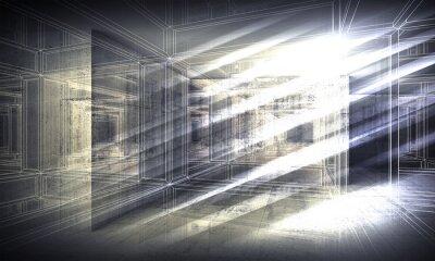 Fototapeta 3 d tło, widok z perspektywy drutu ramy