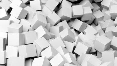 Fototapeta 3D białe kostki pile abstrakcyjne tło
