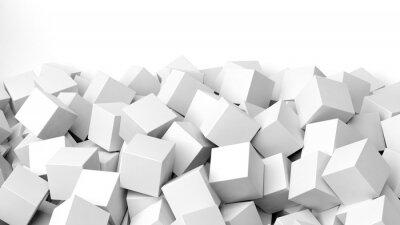 Fototapeta 3D białe kostki stos, na białym tle z kopiowaniem miejsca
