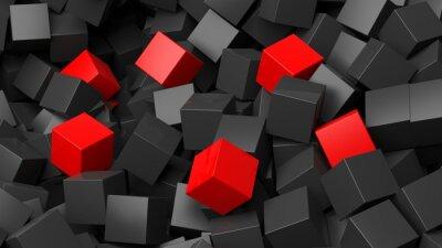 Fototapeta 3D czarne i czerwone kostki pile abstrakcyjne tło