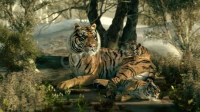 Fototapeta 3d grafika komputerowa matki tygrysa z dwoma niemowląt