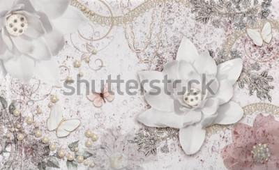 Fototapeta 3d illustration of flower background-3d wallpaper