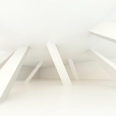 Fototapeta 3d ilustracja. Białe nowoczesne wnętrze nieistniejącego pomieszczenia z pochylonymi w różnych kierunkach kolumnami podtrzymującymi. Architektoniczne tło z miejscem na tekst. Renderowanie.