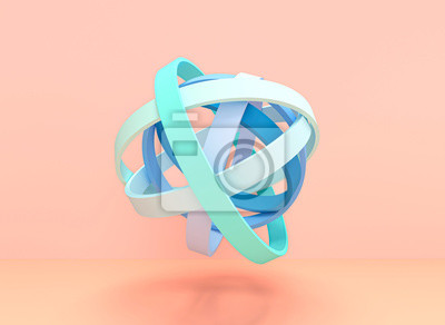 3d image render of concentric rings forming a ball with pastel colors.
