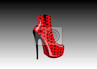 6fd54d0f Fototapeta 3D kobieta czerwone buty na wysokich obcasach, widok z boku,  sklep obuwniczy Logo