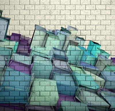 Fototapeta 3d mozaika ceglany mur z kostki podzielony wzór