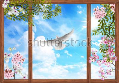 Fototapeta 3d niebo chmury i piękny drzewo, kwiat rama