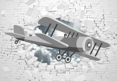Fototapeta 3d picture of a gray plane flying through a brick wall