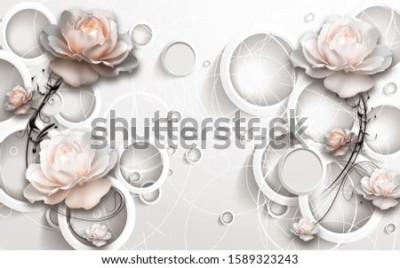 Fototapeta 3D Rings and Flowers wallpaper