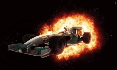 Fototapeta 3D samochód wyścigowy z ognistym efektem eksplozji