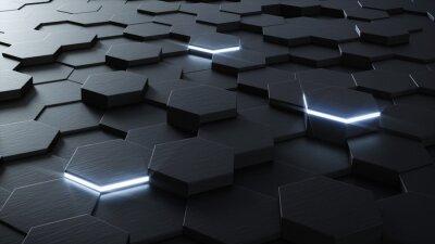 Fototapeta 3D techniczne sześciokątny wzór tła