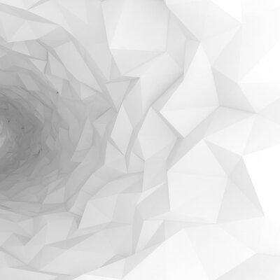 Fototapeta 3d tunelu z chaotycznym powierzchni wielokąta