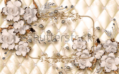 Fototapeta 3d wallpaper design with ceramic jewels and flowers for photomural
