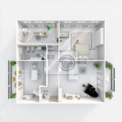 Fototapeta 3d Wnętrza Plan Renderowania Widoku Umeblowane Mieszkanie W Domu