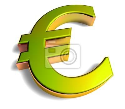 0c4e471de 3d złoty znak - euro Fototapeta • Fototapety wizualizacja, piktogram ...
