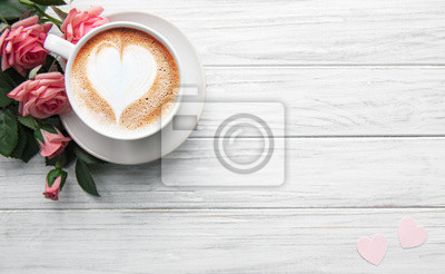 Fototapeta A cup of coffee with heart pattern