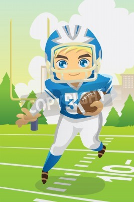 Fototapeta A illustration of a boy carrying an American football
