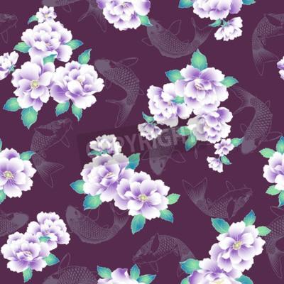 Fototapeta A Japanese style peony pattern.