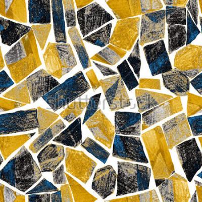 Fototapeta Abstract akwarela używanego wzoru. Grafika w geometrycznym nowoczesnym stylu. Współczesny. Witraż.