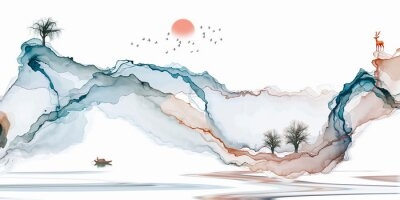 Fototapeta Abstract background ink line decoration painting landscape artistic conception