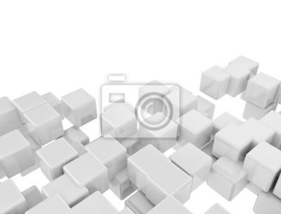 Fototapeta Abstract digital 3d white cubes