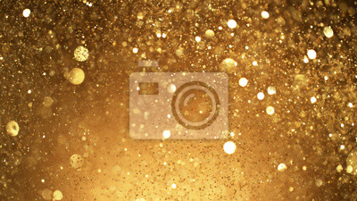 Fototapeta Abstract golden glittering background with blur dots.