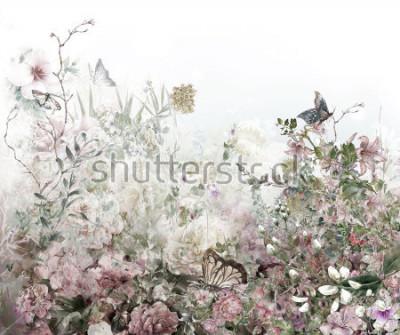 Fototapeta Abstract kolorowe kwiaty malarstwo akwarela. Wiosna wielobarwny z natury