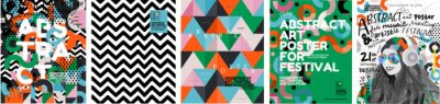 Fototapeta Abstract posters for art and music festivals. Vector illustrations of youth, modern backgrounds, textures and patterns and eclecticism. Drawings and geometric shapes