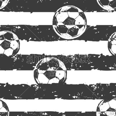 Fototapeta Abstract seamless football pattern. Grunge urban repeated backdrop for boy,sport textile, clothes, wrapping paper. Grungy textured wall. Sportish elements. Monochrome grey and white background