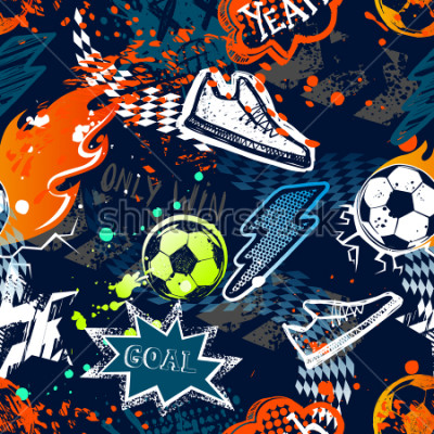 Fototapeta Abstract seamless football pattern. Sport background. Grunge repeated backdrop for boy, textile, clothes,wrapping paper. Colorful print with speech cloud, goal, lightning, fire, soccer ball, sneakers