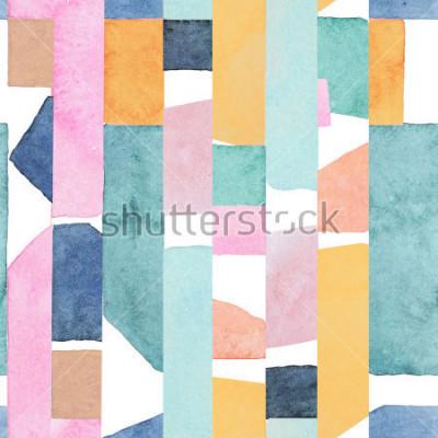 Fototapeta Abstract watercolor seamless pattern. Artwork in geometric modern style.