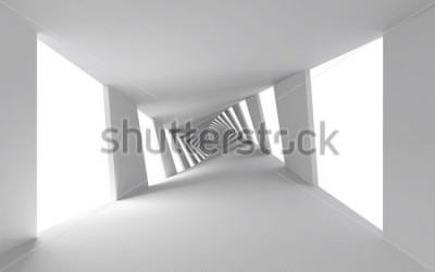 Fototapeta Abstrakcjonistyczny 3d tło z białym skręconym ślimakowatym korytarzem