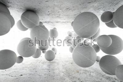 Fototapeta Abstrakcjonistyczny geometryczny tło betonowe piłki. Ilustracja 3D.