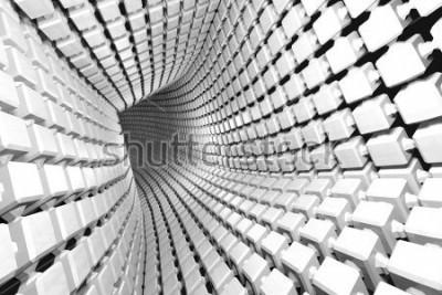 Fototapeta Abstrakcjonistyczny geometryczny tło z tunelem iść perspektywa. Renderowania 3d