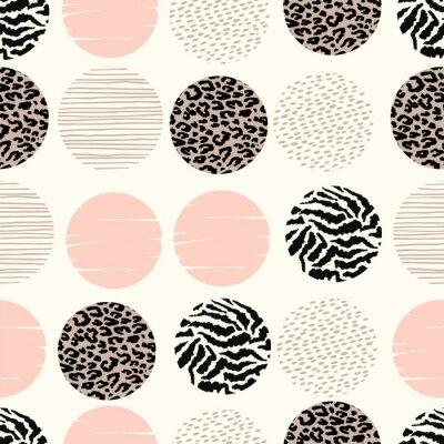 Fototapeta Abstrakcyjna geometrycznej bezszwowych deseń z zwierząt drukowania i okręgi.