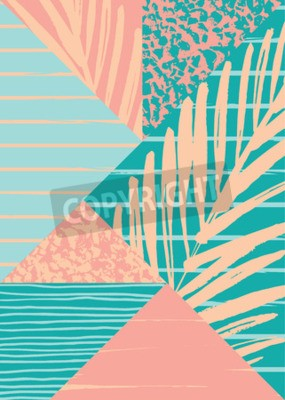 Fototapeta Abstrakcyjna latem skład z ręcznie rysowane zabytkowe tekstury i elementów geometrycznych. Szablon Vector do plakatu, okładki, karty i innych użytkowników.