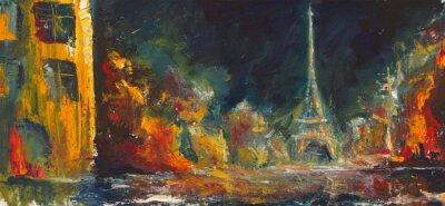 Fototapeta Abstrakcyjna nocy paris. Oryginalny olej stare miasto na canvas.Modern