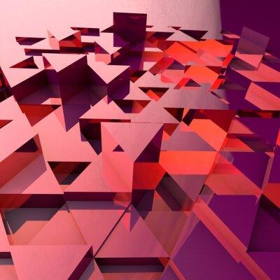 Fototapeta Abstrakcyjne 3d tła z czerwonym wielokątnych trójkąty.