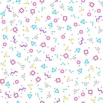 Fototapeta Abstrakcyjne geometryczne tła, styl Memphis, jasne kolory neonowe, bez szwu wektor wzór