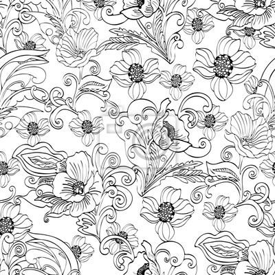 bd87ae9dd2af2c Fototapeta Abstrakcyjne kwiaty bez szwu deseń, wektor kwiatowy czarno-biały  kontur tła, rysowane