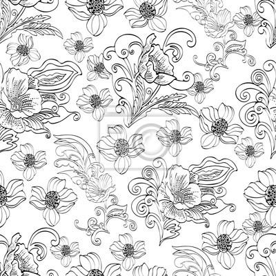4616e791cc93be Fototapeta Abstrakcyjne kwiaty bez szwu deseń, wektorowe kwiatu  czarno-białe tło konturu, rysowane