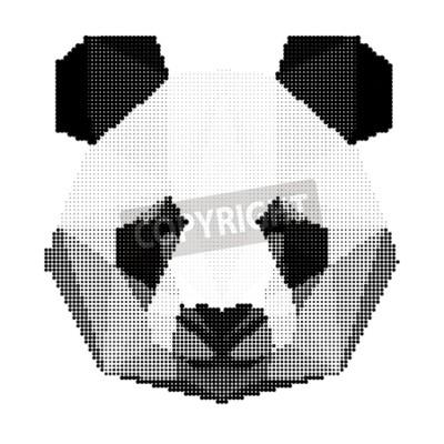 Fototapeta abstrakcyjne monochromatyczne portret panda bear samodzielnie na białym tle do wykorzystania w projektowaniu dla karty, zaproszenia, plakat, afisz, transparent, bilbord okładki