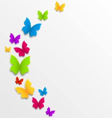 Fototapeta Abstrakcyjne tło wiosna z motylami tęczy
