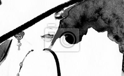 Fototapeta abstrakcyjny portret kobiety. Akwarele ilustracji