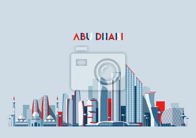 Fototapeta Abu Dhabi panoramę Emiraty Arabskie wektor Płaska konstrukcja