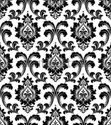 Fototapeta Adamaszek bez szwu kwiatowy wzór. Królewska tapeta. Kwiaty na czarno-białym tle.