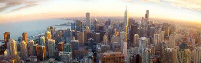 Fototapeta Aerial panorama o zachodzie słońca w Chicago, IL, USA