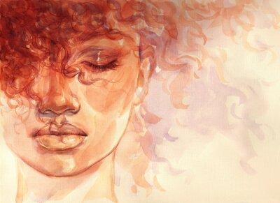 Fototapeta african american woman. illustration. watercolor painting